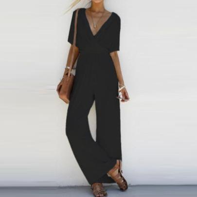 Large Size Slimming Wide-leg Casual Jumpsuit Nihaostyle Clothing Wholesale NSYID69196