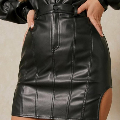 Sexy Slit Leather Skirt Nihaostyle Clothing Wholesale NSFLY69220