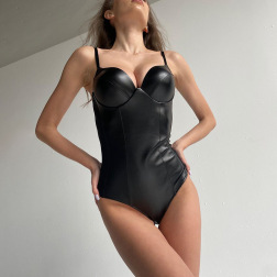 New Style Leather Stitching Sexy Suspender Slim Bodysuit Nihaostyle Clothing Wholesale NSFLY69245