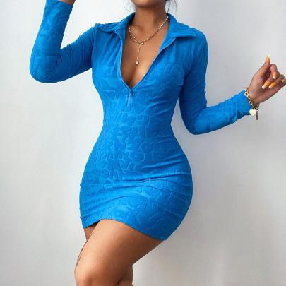 Letter Jacquard Sexy Deep V Dress Nihaostyle Clothing Wholesale NSFLY69247