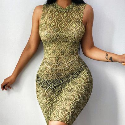 Mesh Sexy Women's Stitching Printed Slim Skirt Nihaostyle Clothing Wholesale NSFLY69259