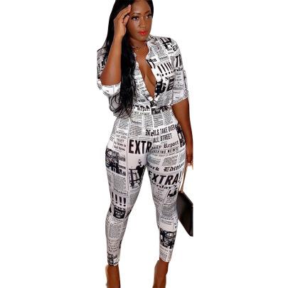 Women's Newspaper Printed Shirt Set Nihaostyle Clothing Wholesale NSALI69281