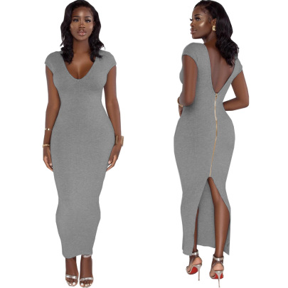 Women's Fashion Sexy Open Back Split Zipper Dress Nihaostyle Clothing Wholesale NSSJW69286