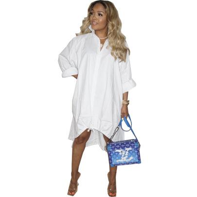 Fashion V-neck Loose Large Swing Dress Nihaostyle Clothing Wholesale NSSJW69287