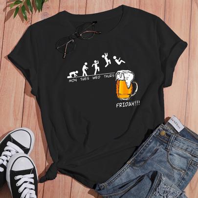 Creative Jumping Printed Casual Short-sleeved T-shirt Nihaostyle Clothing Wholesale NSYAY69354