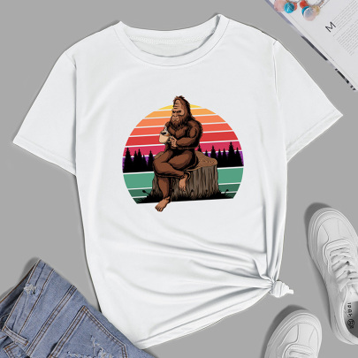 Print Casual Short-sleeved T-shirt Nihaostyle Clothing Wholesale NSYAY69353