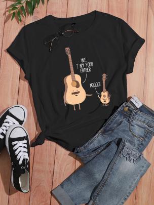 Cartoon Fashion Guitar English Printing Casual Short-sleeved T-shirt Nihaostyle Clothing Wholesale NSOUY69352