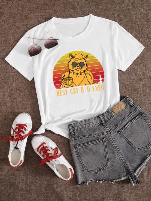Cartoon Sunglasses Cat Print Casual Short-sleeved T-shirt Nihaostyle Clothing Wholesale NSOUY69347