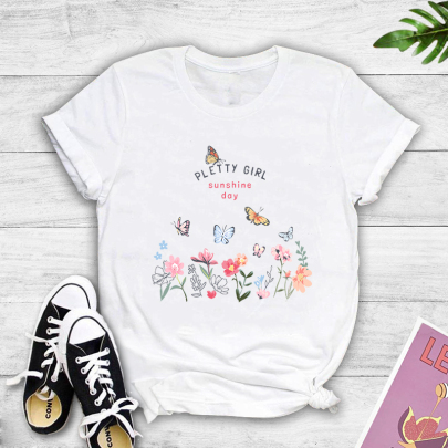 Casual Fashion Flower Butterfly Print Casual Short-sleeved T-shirt Nihaostyle Clothing Wholesale NSOUY69338