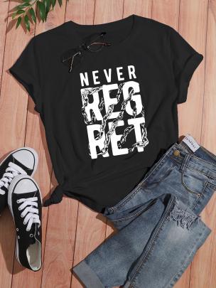 English Printing Casual Short-sleeved T-shirt Nihaostyle Clothing Wholesale NSOUY69332
