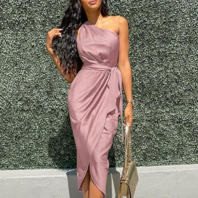 New Irregular Slanted Shoulder Belt Slim Satin Dress Nihaostyle Clothing Wholesale NSFM69384