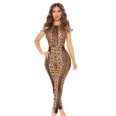 Sexy Fashion Mesh Stitching Leopard Print Jumpsuit Nihaostyle Clothing Wholesale NSYMA69394