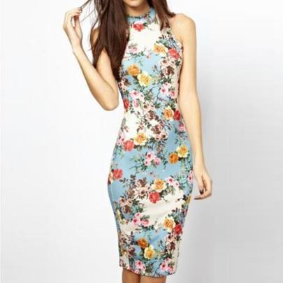Women's Retro Floral Ethnic Style Slim Sleeveless Hip Dress NSYID69428