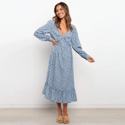 V-neck Printed Big Sleeve Long Sleeve Dress Wholesales Nihaostyle Clothing NSXMI70099