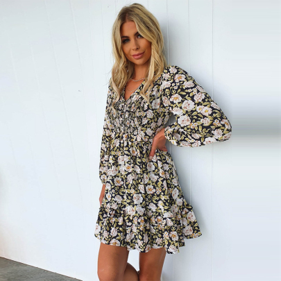 V-neck Floral Long-sleeved Dress Wholesales Nihaostyle Clothing NSXMI70098