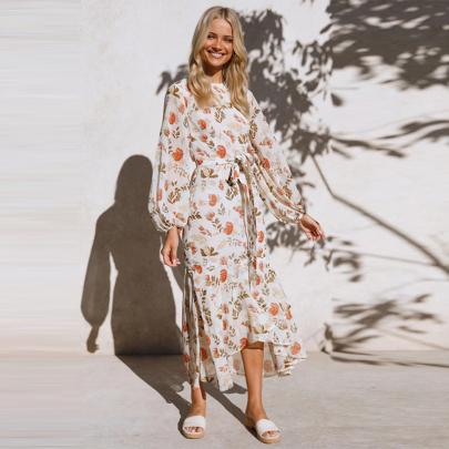 Round Neck Printed Lace Long Sleeve Dress Wholesales Nihaostyle Clothing NSXMI70097