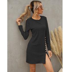 vestido de manga larga con cuello redondo dividido vendedor al por mayor de ropa Nihaostyles NSJC69433