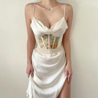 New Fish Bone Waist Stitching Printing Crown Girdle Top Wholesale Clothing Vendor Nihaostyles NSSWF69458