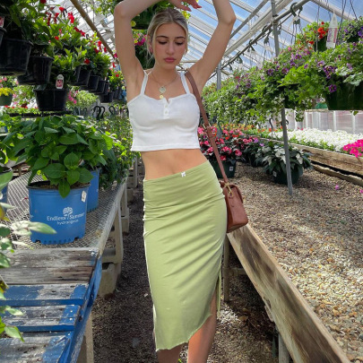 Low-waist Solid Color Side Slits Skirt Wholesale Clothing Vendor Nihao Styles NSSWF69480