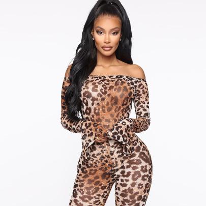 Leopard Print One-line Collar Long-sleeved Jumpsuit Set Wholesale Clothing Vendor Nihaostyles NSSWF69494