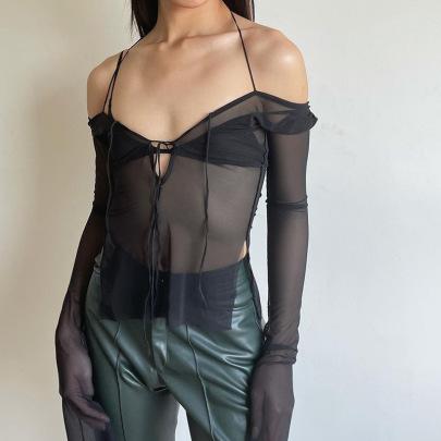 Solid Color Lace Halter Neck Split Long-sleeved Blouse Wholesale Clothing Vendor Nihaostyles NSSWF69495