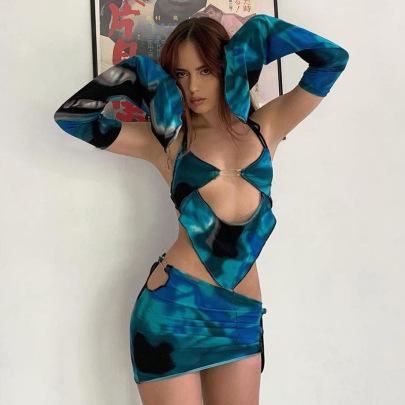 Sling Hanging Neck Sleeve Sleeve Halter Low Waist Skirt Set Wholesale Clothing Vendor Nihaostyles NSSWF69508