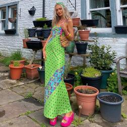 honda sin mangas impresión de cobertura vestido largo vendedor de ropa al por mayor Nihaostyles NSSWF69512