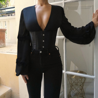 Solid Color Long-sleeved V-neck Reveal Back Tie Rope Top Wholesale Clothing Vendor Nihaostyles NSSWF69528