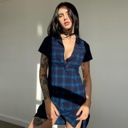 vestido de camisa de un solo pecho con cuello alto y estampado a cuadros vendedor de ropa al por mayor NSSWF69543