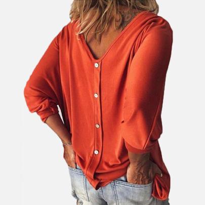 Women's New Style V-neck Long Sleeve T-shirt Nihaostyle Clothing Wholesale NSYID69555