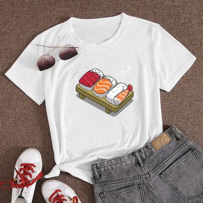 Onigiri Printed Casual Short-sleeved T-shirt Nihaostyle Clothing Wholesale NSYAY70009