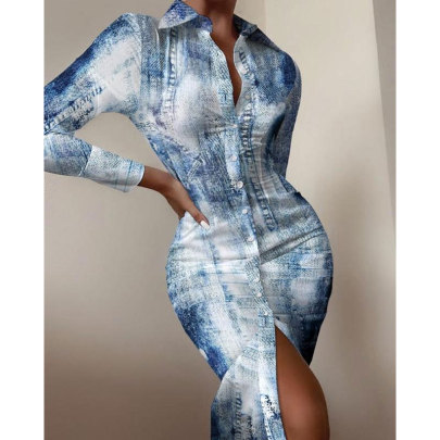 Long-sleeved Waist Printed Shirt Shirt Dress Nihaostyle Clothing Wholesale NSSUO69558