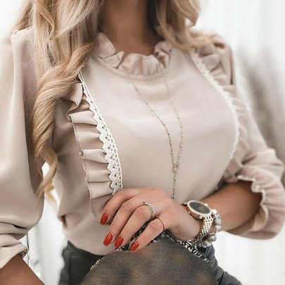 New Slim Fashion Lace Stitching Long-sleeved Shirt Nihaostyle Clothing Wholesale NSJIM69608