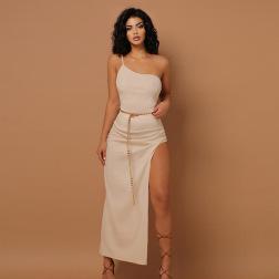 Solid Color One-shoulder Sling Irregular Slim Dress Wholesale Clothing Vendor Nihaostyles NSXPF69569