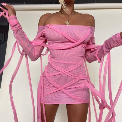 Long-sleeved Lace-up Fringed Mesh Short Dress Wholesale Clothing Vendor Nihaostyles NSXPF69572