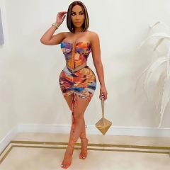 tie-dye printed tube top hook button waist pleated skirt set wholesale clothing vendor Nihaostyles NSXPF69577