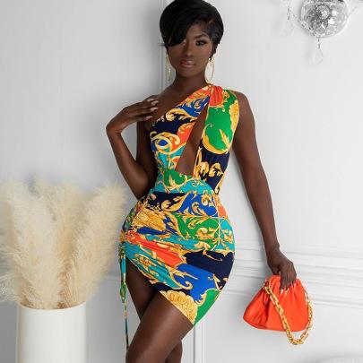 Printed One-shoulder Sleeveless Hollow Irregular Pleated Dress Wholesale Clothing Vendor Nihaostyles NSXPF69580