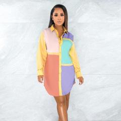 stitching contrast shirt collar loose mid-length top wholesale clothing vendor Nihaostyles NSXPF69584