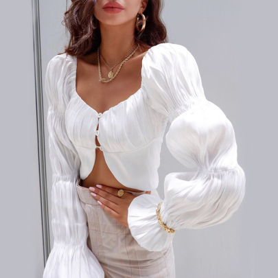 New Fashion Solid Color Pleated Long-sleeved Short Top Nihaostyle Clothing Wholesale NSXPF69601