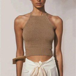 Knitted Halter Strap Halter Camisole Top wholesale clothing vendor Nihaostyles NSHT69664
