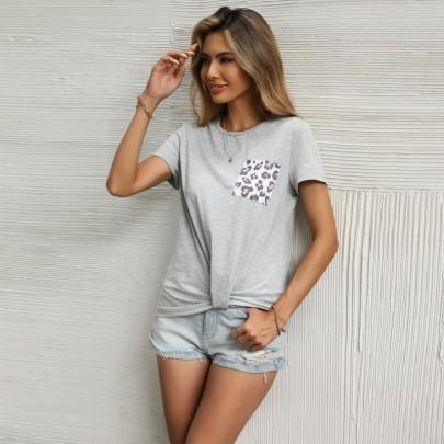 Stitching Leopard Print Hem Kink Short-sleeved T-shirt Wholesale Clothing Vendor Nihaostyles NSDMB69678