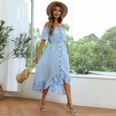 Chiffon Cool Small Floral One-shoulder-breasted Ruffle Dress Wholesale Clothing Vendor Nihaostyles NSDMB69683
