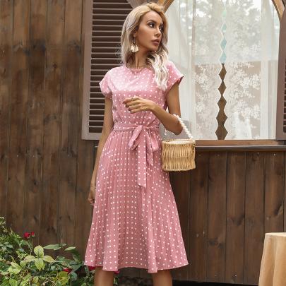 Fashion Dot Waist Tie Dress Wholesale Clothing Vendor Nihaostyles NSDMB69691
