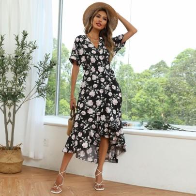 Lace Ruffled Irregular Long Dress Wholesale Clothing Vendor Nihaostyles NSDMB69693
