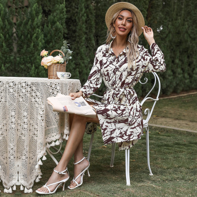 Tie-dye Printing Long-sleeved Lace Lapel Shirt Dress Wholesale Clothing Vendor Nihaostyles NSDMB69695