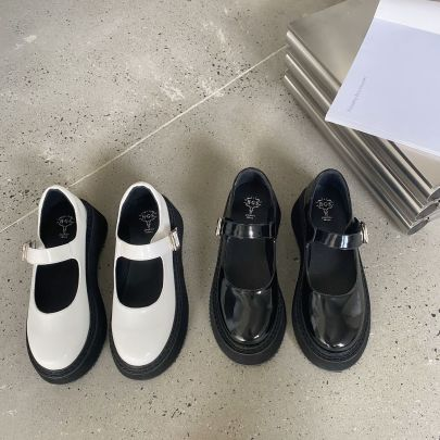 Thick-heeled Round-toe Leather Shoes Wholesale Clothing Vendor Nihaostyles NSCA69717