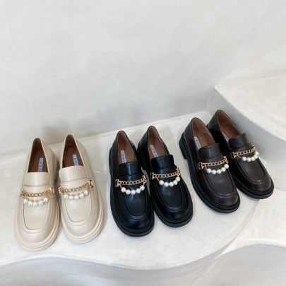 Thick-soled Round Toe Small Leather Shoes Nihaostyle Clothing Wholesale NSHU69730