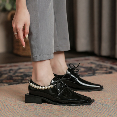 New Square Toe Thick Heel Pearl Chain Shoes Nihaostyle Clothing Wholesale NSHU69749