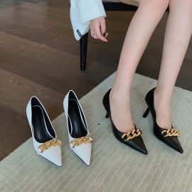 Metal Chain Pointed Toe Heels Wholesale Clothing Vendor Nihaostyles NSCA69751