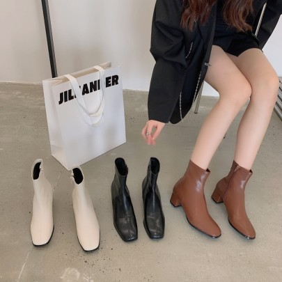 Thick-heeled Square Toe Martin Boots Nihaostyle Clothing Wholesale NSHU69763